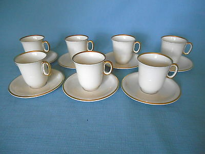 7 KRAUTHEIM K&A WHITE & GOLD CHOCOLATE or DEMITASSE CUPS & SAUCERS  Franconia ?
