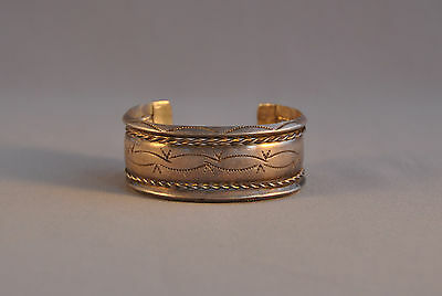 """Old Navajo Silver Handstamped Cuff Bracelet - 3 Bands & Twisted Wire - 6 3/4"""""""
