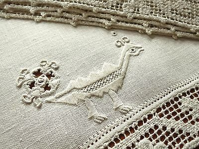 PEACOCKS in EMBROIDERY & LACE Antique Italian Linen Set 12 PLACEMATS Filet Lace