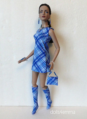 "TYLER Clothes Tonner 16"" Mod DRESS, BOOTS, PURSE &JEWELRY HM Fashion NO DOLL d4e"