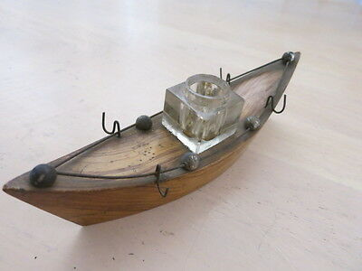 Inkwell, glass ink well on timber boat