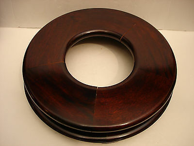 """10 1/2"""" Vintage Chinese Rosewood Flat Round Wooden Stand"""