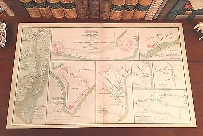 Original Antique Civil War Map NORTH CAROLINA Wilmington Smithville Brunswick NC