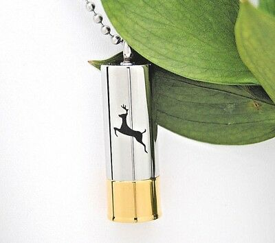Shotgun Shell Cremation Urn Necklace with Deer, Engraveable Bullet Urn Jewelry