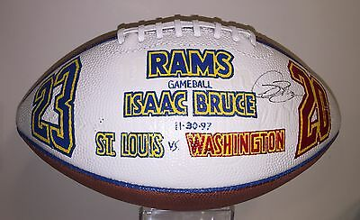 Isaac Bruce Game Used St. Louis Rams Presentation Football First Season 11-30-97