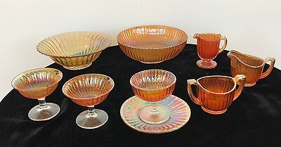 9-pc Fluted / Ribbed Marigold Amber Iridescent Carnival Glass Serving Set, Nice