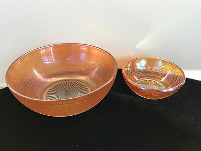 Set of 2 Checkerboard Pattern Marigold Amber Iridescent Carnival Glass Bowls