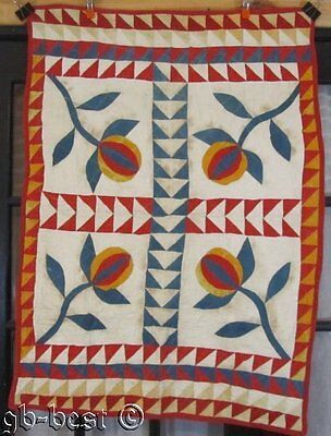 Authentic PA c 1880s Pomegranate Applique Crib Quilt FLYING Geese 4 Block