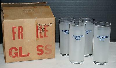 "Vintage Set of 4 Calvert Gin Glasses Frosted Blue Lettering Highball Collins 6""H"