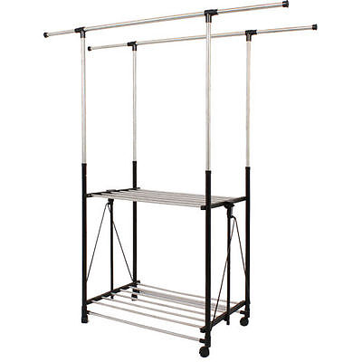 Collapsible Double Bar Garment Rack with Casters