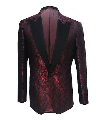 Brioni Men's Maroon Patterned Silk Jacket Seneca Regular fit, size 48(S), 50(M)