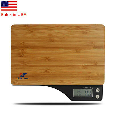 5kg Eco-friendly Bamboo Platform Kitchen Scale Digital LCD Weighing with battery