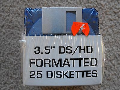 "Box of 25 - 3.5"" DS/HD Formatted Disks  NEW - FREE SHIPPING"