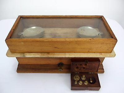 Antique Apothecary Pharmacy Balance Scales Wood & Stone Case w/5-50 Gram Weights