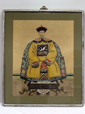 Chinese Emperor Civil Official Watercolor Painting on Silk Crane on Chest Qing