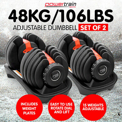 Powertrain Adjustable Dumbbells Set Home Gym Exercise Free Weights - 48kg