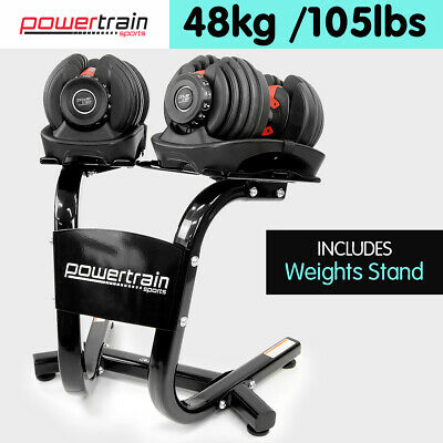 Adjustable Dumbbells Set Home Gym Exercise Equipment Free Weights 48kg w/ Stand