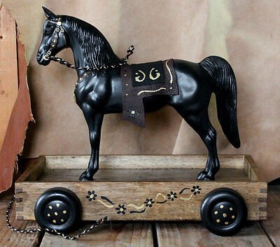 Breyer Western Horse pull toy on vintage cart with leather saddle CM model