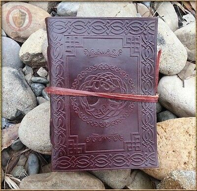 Handmade cotton paper Leather journal Tree of Life - Medium Celtic