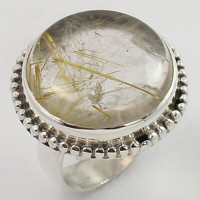 Chunky Ring Size US 7.25 Natural RUTILATED QUARTZ Gemstone 925 Sterling Silver