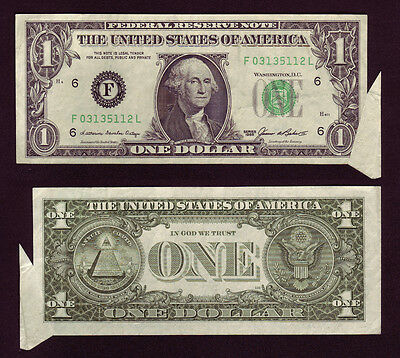 1985 1$ Federal Reserve Note Cutting Error Butterfly Cut Dollar Bill (P667)