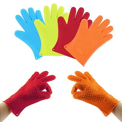 Heat Resistant Silicone Glove Oven Pot Holder Baking BBQ Cooking Mitts X3