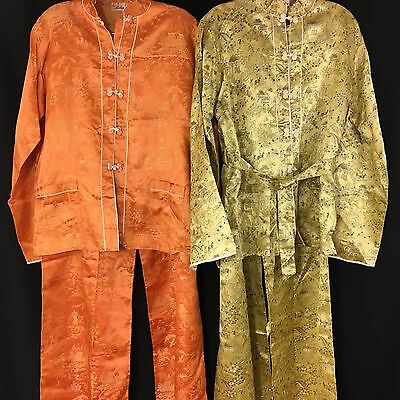 Vintage 1951 Traditional Korean Womens Authentic Outfit M Set of 2 Orange Green