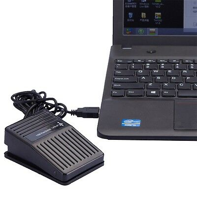 Black Plastic USB Single Foot Switch Pedal Control Keyboard Mouse PC Game X3