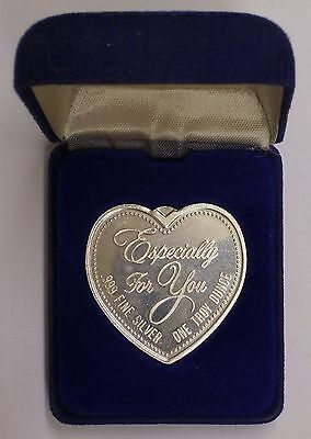 """1 Troy Ounce 999 Fine Silver Bullion Heart """"Especially For You"""" Valentine's Day"""