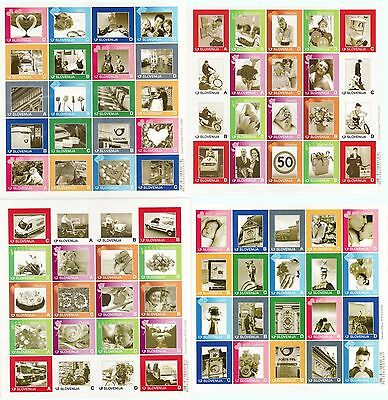 Slovenia 2009 ** MNH lot of 4 sheets 80 personal stamps car flower love