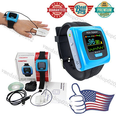 CONTEC OLED SpO2 PR 24h Sleep Monitor,Wrist Pulse Oximeter+Finger probe+Software