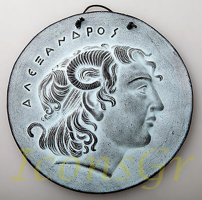 Plaque Of Alexander The Great Patine Ancient Greek Ceramix Wall Collectable 2577