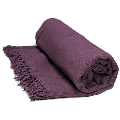 100% Cotton Honeycomb Throw - Purple Bedspread Bed / Sofa Throw Over