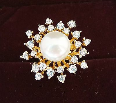 New Designer Ethnic Pearl Stones Gold Tone Indian Look Ring Adjustable Size 5-9