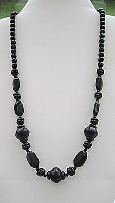 """Chunky 1940's Vintage Long Black Bead Necklace 26"""""""