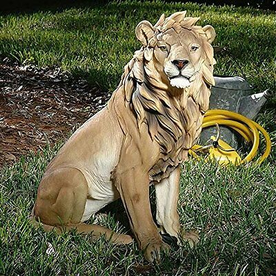 Lion Sculpture Garden Statue Home Ornament Indoor Outdoor Decoration Resin Stone
