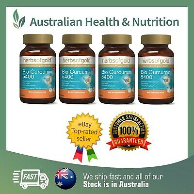 4 x HERBS OF GOLD BIO CURCUMIN 5400+ TURMERIC TABLETS - PROVEN FORMULA + SAMPLE