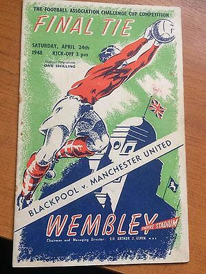 1948 FA CUP FINAL MANCHESTER UNITED v BLACKPOOL PROGRAMME VGC