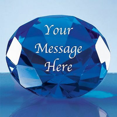 Personalised Engraved Blue Crystal Diamond Paperweight Anniversary Gift