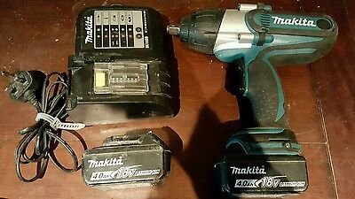 Makita DTW450 Impact Wrench 18v LXT 2014 with charger and 2 BL1840 4ah batteries