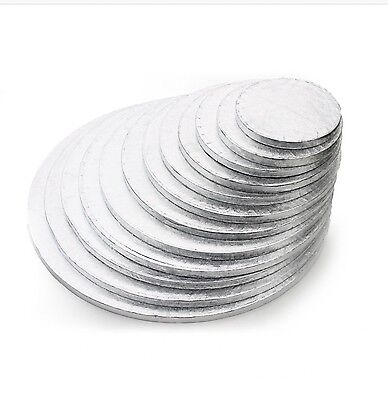 "Silver Round Cake Drum Boards.12mm thick Strong Base 6"" - 16"" Cake decorating"