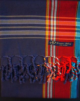 NEW Kikoy Kikoi Blue Red Africa Cotton Sarong Throw Scarf Pareo Kenya Swimwear