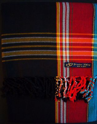 NEW Kikoy Kikoi Black Red Africa Cotton Sarong Throw Scarf Pareo Kenya Swimwear