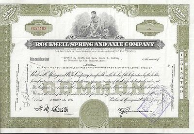 Rockwell Spring And Axle Company...1956 Stock Certificate