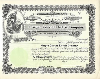 Oregon Gas And Electric Company....unissued Stock Certificate