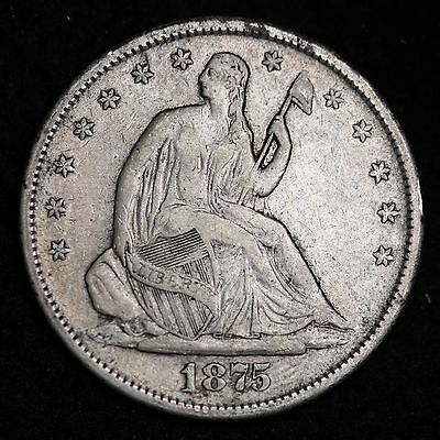 1875-S Seated Liberty Half Dollar CHOICE VF+/XF FREE SHIPPING E356 FT