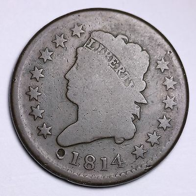 1814 Classic Head Large Cent CHOICE VG FREE SHIPPING  E411 LM