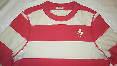 Abercrombie & Fitch Muscle Striped LS Shirt Medium Pink and Beige