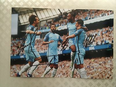 Silva Clichy And Nolito Manchester City Fc Hand Signed 12X8 Photo New Stock