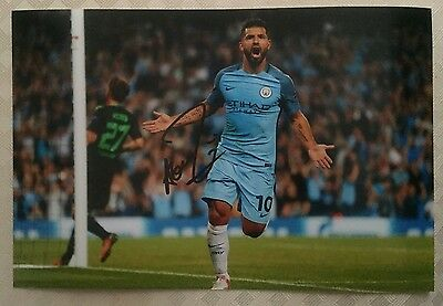 Sergio Aguero Manchester City Fc Hand Signed 12X8 Photo New Stock